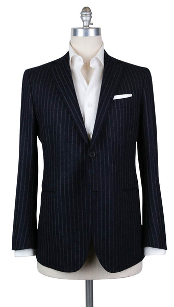 New $2700 Luigi Borrelli Blue Wool Striped Sportcoat - 42/52 - (B4222123R8)