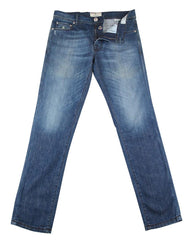 $400 Luigi Borrelli Denim Blue Vintage Wash Jeans - Extra Slim -  32/48 - (DL)