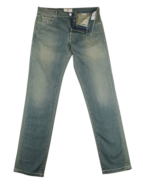 $400 Luigi Borrelli Light Blue Vintage Wash Jeans - Extra Slim - (EM) - Parent