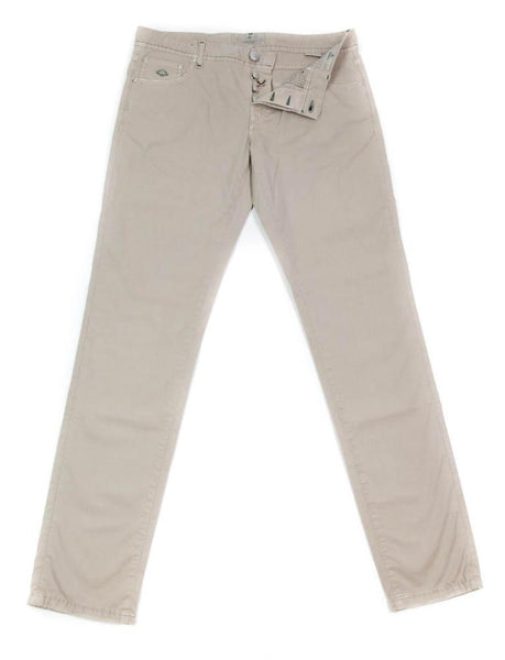 New $425 Luigi Borrelli Beige Solid Pants - Super Slim - 35/51 - (CAR2581530)