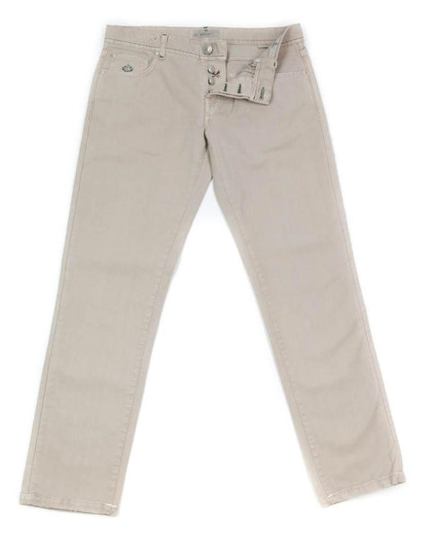 New $400 Luigi Borrelli Beige Solid Pants - Super Slim - 35/51 - (CAR4051530)