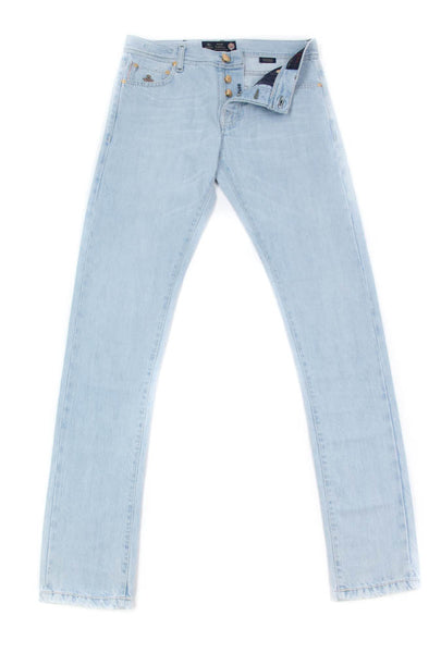 New $500 Luigi Borrelli Light Blue Jeans - Super Slim -  31/47 - (CARSS02611656)