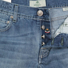New $425 Luigi Borrelli Denim Blue Jeans - Super Slim - 35/51 - (CARSS03211647)