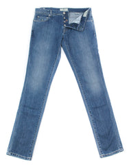 New $425 Luigi Borrelli Denim Blue Jeans - Super Slim - 42/58 - (CARSS14811648)