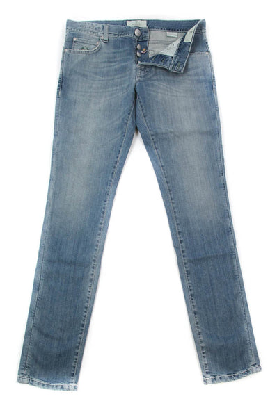 New $425 Luigi Borrelli Denim Blue Jeans - Super Slim - 33/49 - (CARSS14811652)