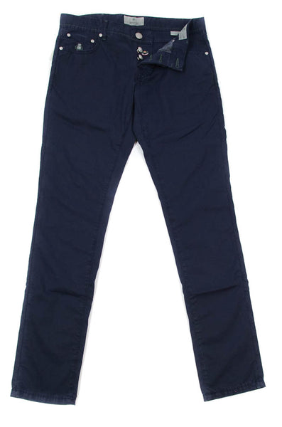 New $425 Luigi Borrelli Navy Blue Pants - Super Slim - 33/49 - (CARSS25810591)
