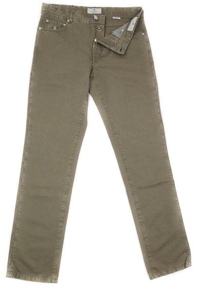 New $425 Luigi Borrelli Olive Green Solid Pants - Full - 33/49 - (CHIJ01550)