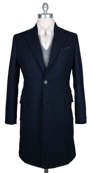 New $5100 Luigi Borrelli Navy Blue Wool Nail Head Coat - (CULB213270) - Parent