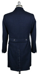 New $5100 Luigi Borrelli Navy Blue Wool Check Peacoat - (CULB213370) - Parent