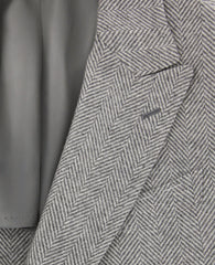 New $6000 Luigi Borrelli Gray Cashmere Herringbone Coat - (CULB217830) - Parent