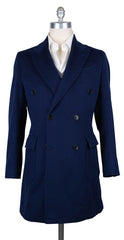 New $9000 Luigi Borrelli Navy Blue Solid Coat - (CUROMA213170) - Parent