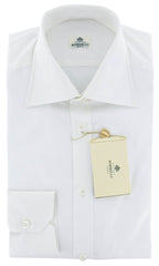 New $450 Luigi Borrelli White Solid Shirt - Slim - 17.5/44 - (DRWHTHENRY)