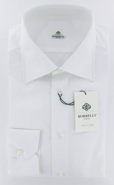 New $450 Luigi Borrelli White Solid Shirt - Slim - 17/43 - (DRWHTHENRYSTFSPT2SB)