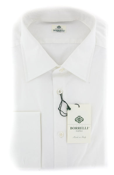 $450 Luigi Borrelli White Solid Shirt - Slim - (DRNUNZFSPD5PTPB) - Parent