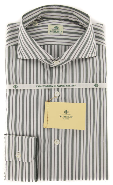 New $450 Borrelli Green Striped Shirt - Extra Slim - 15.5/39 - (EV1791HILL)