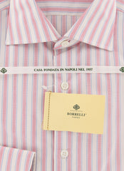 New $450 Luigi Borrelli Pink Striped Shirt - Extra Slim - 15.75/40 - (EV1815RIO)