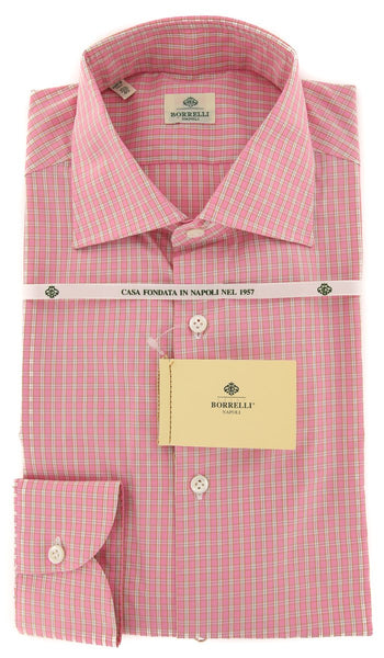New $450 Luigi Borrelli Pink Check Shirt - Extra Slim - 15.75/40 - (EV2268RIO)