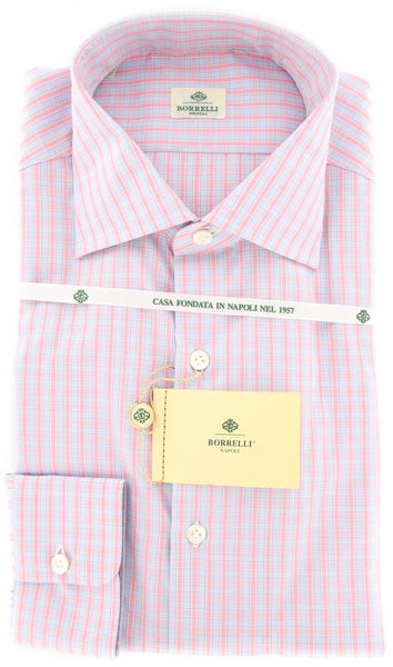 New $450 Luigi Borrelli Pink Check Shirt - Extra Slim - 15.75/40 - (EV2279RIO)