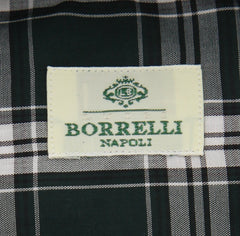 New $450 Borrelli Green Plaid Shirt - Extra Slim - 17.5/44 - (EV2391VALERIO)