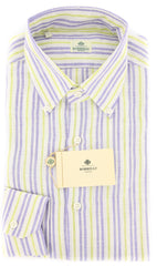New $450 Luigi Borrelli Blue Striped Shirt - Extra Slim - 17/43 - (EV251RALPH)