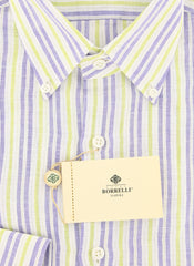 New $450 Borrelli Blue Striped Shirt - Extra Slim - 15.75/40 - (EV251RALPH)