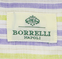 New $450 Luigi Borrelli Blue Striped Shirt - Extra Slim - 15.5/39 - (EV251RALPH)