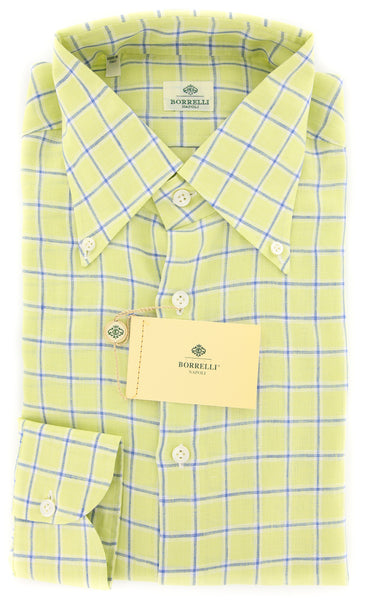 New $450 Luigi Borrelli Green Plaid Shirt - Extra Slim - 16.5/42 - (EV326LIVIO)