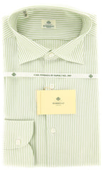 New $450 Borrelli Green Striped Shirt - Extra Slim - 17/43 - (EV461LGIANNI)