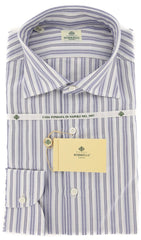 New $450 Luigi Borrelli Blue Striped Shirt - Extra Slim - 17/43 - (EV4903GIANNI)