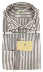 New $450 Borrelli Brown Striped Shirt - Extra Slim - 17.5/44 - (EV65060GIANNI)