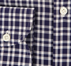 New $450 Borrelli Navy Blue Plaid Shirt - Extra Slim - 15.75/40 - (EV65073RIO)
