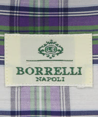 New $450 Luigi Borrelli Purple Plaid Shirt - Extra Slim - 16/41 - (EV878NUNZIO)