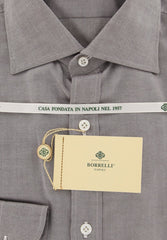 New $450 Borrelli Brown Solid Shirt - Extra Slim - 15.75/40 - (EVS10360RIO)