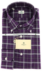 New $450 Borrelli Purple Plaid Shirt - Extra Slim - 17/43 - (EV2357VALERIO)