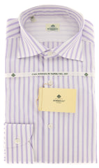 New $450 Borrelli Lavender Purple Shirt - Extra Slim - 15/38 - (EVTS3082GIANNI)