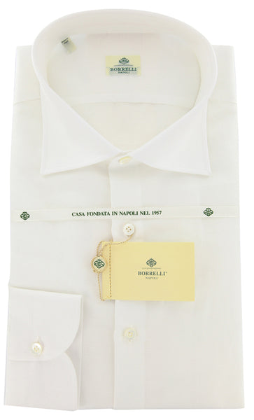 New $450 Borrelli White Solid Shirt - Extra Slim - 18/45 - (EVTS4234GIANNI)