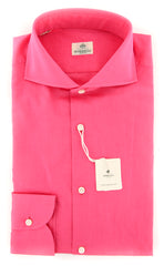 New $450 Luigi Borrelli Pink Solid Shirt - Extra Slim - 15.5/39 - (EV061148N35)