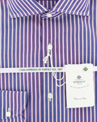 New $450 Luigi Borrelli Purple Shirt - Extra Slim - (EV06160872) - Parent