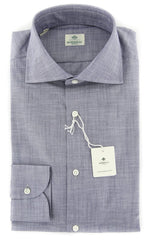 New $450 Luigi Borrelli Gray Solid Shirt - Extra Slim - 15/38 - (EV0616572)