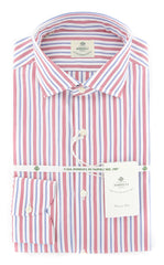 New $450 Luigi Borrelli Red Striped Shirt - Extra Slim - 15.5/39 - (EV06165740)
