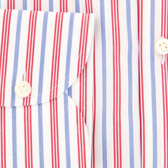 New $450 Luigi Borrelli Red Striped Shirt - Extra Slim - (EV06165740) - Parent