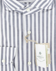 New $450 Borrelli Midnight Navy Blue Striped Shirt - Extra Slim - (2018022210) - Parent