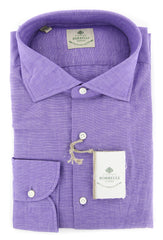 $450 Luigi Borrelli Purple Melange Shirt - Extra Slim - (EV6369PURPFABPT1) - Parent