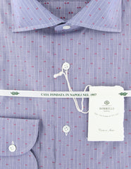 New $450 Borrelli Blue Fancy Shirt - Extra Slim - (201802211) - Parent