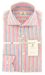 New $450 Borrelli Red Striped Shirt - Extra Slim - 14.5/37 - (2018031910)