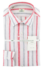 New $450 Luigi Borrelli White Striped Shirt - Extra Slim - 14.5/37 - (L1222171)