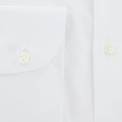 $450 Luigi Borrelli White Solid Cotton Shirt - Extra Slim - (RI) - Parent