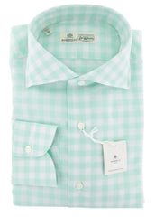 $450 Luigi Borrelli Light Green Check Cotton Shirt - Extra Slim - (ZX) - Parent