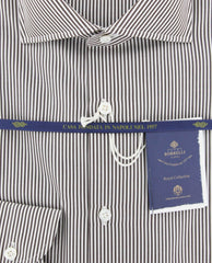New $600 Luigi Borrelli Brown Striped Shirt - (EV0601160NANDO) - Parent