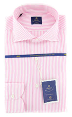 New $600 Luigi Borrelli Pink Shirt - Extra Slim - (EV0601380NANDO) - Parent